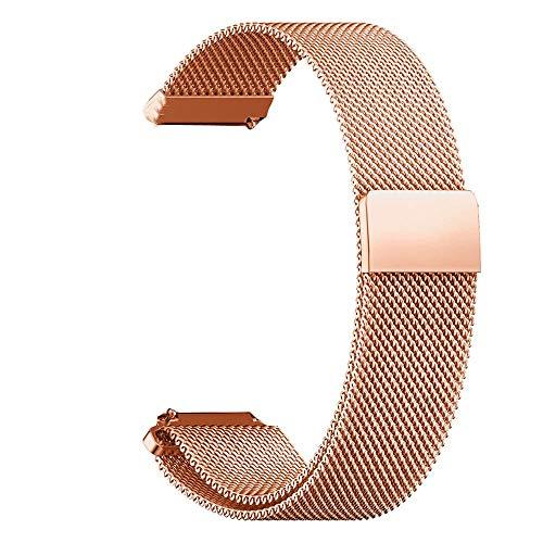 RanGuo Correa de Repuesto para Relojes Inteligentes, Banda con un Ancho de Correa de 16mm/ 18m / 20 mm / 22mm / 24mm, Metal de Acero Inoxidable con Cierre magnético Correa de Reloj (20mm, Oro Rosa)