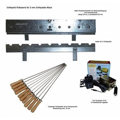 Drehspieß Rotisserie Set für 9 Grillspieße inkl. Grillmotor + Spieße für Spießgrill