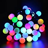 30LED Solar String Home Lights 6M 8 Light Modes Waterproof Bubble Frosted ball String Lights Ambiance Lighting for Christmas Garden Patio Party Path Yard Decorations indoor outdoor (Red+Yellow+Blue+Green)