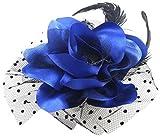 DealMux Señora Flor Negro pluma Cóctel de Clip ramillete de pelo, azul marino, 0,03 la libra