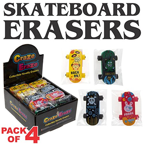 Skateboard erasers-pack von 4-vibrant Farben und designs-unique Artikel für Geschenke sortiert