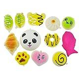 12 Stück Random Squishy Charms Soft Squishy Kuchen / Panda / Brot Telefon Schlüsselanhänger mit Gürtel