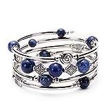 A Chakra Armreif Türkis Armband - Modeschmuck Wickelarmband mit dicken Silber Metall und Mala Perlen, Geburtstagsgeschenke für Frauen,Bluestone
