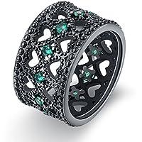 Negro Hollow Corazón Corte Redondo declaración anillo de banda verde cristal 12mm de ancho Punk de regalo de fiestas de Navidad
