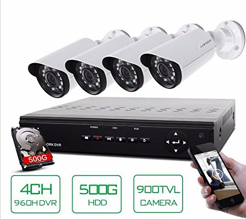 Gowe 4Kanal HDMI DVR 500GB HDD 4, IR Sicherheit Kamera 24LEDs Home Security System Kits 4CH CCTV Überwachung system -