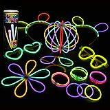 Mpow 100 PCS Barre Luminose per Party[Garanzia a Vita] - Braccialetti, Collane, Occhiali, Braccialetti Tripli, Cerchietti, Fiori, Palla Luminosa - 7 Colori Barre Luminose per Party