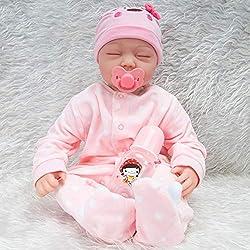 iShinè_Toy 55cm Belle Reborn Simulation bebé muñeca réaliste Miembros de Silicona Juguetes Cuerpo de Tejido muñeca Reborn accompagnant niño educación précoce Regalo de cumpleaños Rosa