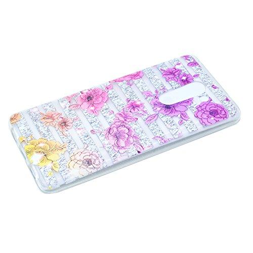 Qiaogle Téléphone Coque - Soft TPU Silicone Housse Coque Etui Case Cover pour Apple iPhone 5 / 5G / 5S / 5SE (4.0 Pouce) - QI04 / Diamant Rayures QI10 / Chrysanthème