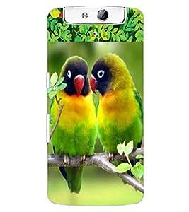 ColourCraft Love Birds Design Back Case Cover for OPPO N1