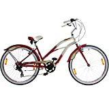 26 Zoll Beachcruiser Viking Retro Ladies Fahrrad Cruiser 2 Farben, Farbe:rot