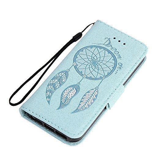 KANTAS Coque Flip PU Cuir Housse Bling Glitter pour iPhone 5S/iPhone 5/iPhone SE Etui en cuir Rouge Attrape Rêve Motif avec Pochette Fonction Stand Fente pour Carte Boucle Magnétique Plume élégant Dés Bleu