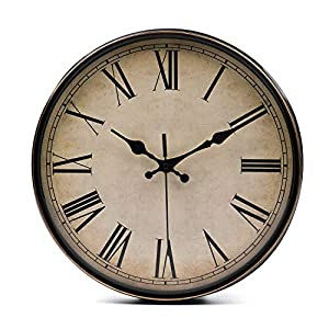 Lawei Wanduhr Vintage Küchenuhr mit Geräuscharmem Uhrwerk Kinderuhr ohne Tickgeräusche mit Römische Ziffern für Büro…