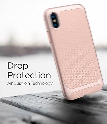 iPhone X Hülle, Spigen® [Neo Hybrid] Doppelschichter Schutz 2-teilige Premium Handyhülle Schwarz Silikon TPU Schale + PC Farbenrahmen Dual Layer Schutzhülle für iPhone X Case Cover NH Pale Dogwood