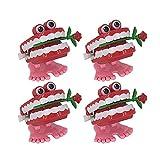 BESTOYARD 4 x Aufziehspielzeug Aufziehfigur Wind Up Zähne Uhrwerk Spielzeug Weihnachten Geschenk für Baby Kinder (Rosy)