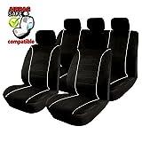 Akhan SB301 - Qualität Auto Sitzbezug Sitzbezüge Schonbezüge Schonbezug mit Seitenairbag Schwarz/Grau