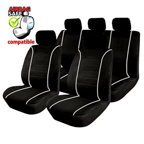 SB301 - housse de siège set auto Protecteur de siège, Couvre Siège voiture avec airbag latéra NOIR/GRIS