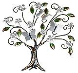Formano Wanddeko aus Metall Baum mit Blüten, Blättern und Schmetterling Silber bunt 76 x 75 x 3 cm