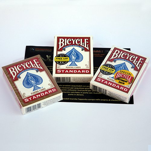 Solomagia mazzi di carte bicycle - trio del baro gold (svengali + stripper + standard) - dorsi rossi - mazzi bicycle - carte da gioco