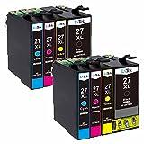 LxTek Kompatibel Ersatz für Epson 27 27XL Druckerpatronen für Epson Workforce WF-3620DWF WF-3640DTWF WF-7110DTW WF-7610DWF WF-7620DTWF (2 Schwarz, 2 Cyan, 2 Magenta, 2 Gelb)