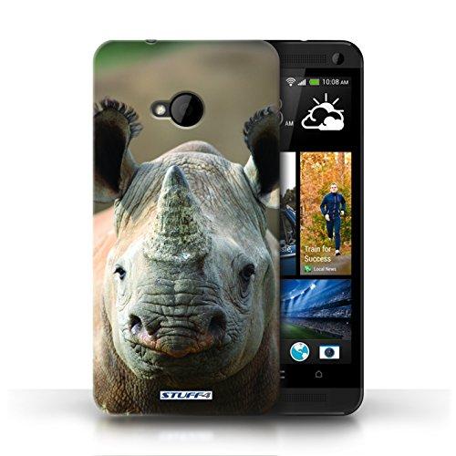 Hülle Für HTC One/1 M7 Wilde Tiere Nashorn Design Transparent Ultra Dünn Klar Hart Schutz Handyhülle Case