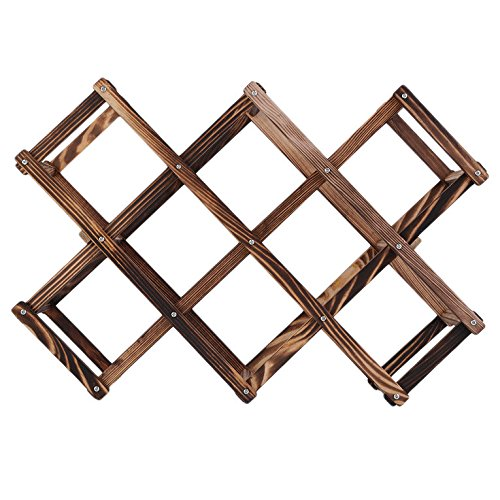 ouying1418 Wooden Red Wine Rack 3/6/10 Bottle Holder Mount Kitchen Bar Display Shelf