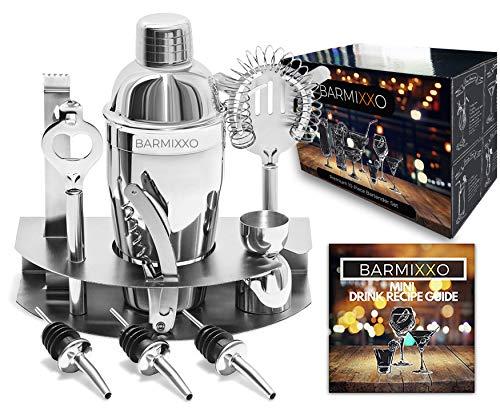 Barmixxo Home Cocktail-Bar-Set, Edelstahl, 10-teiliges Mixologie-Set - mit Barkeeper professionellem Shaker, Sieb, Jigger, Likörausgießer und mehr/Mini-Guide und 150 Rezeptebook -
