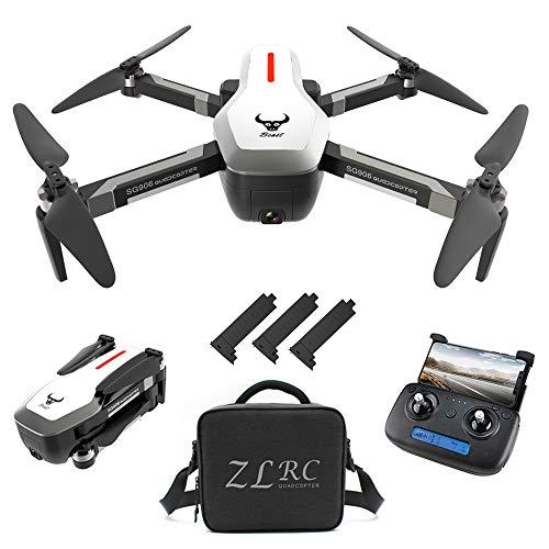 Goolsky Drohne SG906 GPS Brushless 4K mit Kamera 5G WiFi FPV Faltbarer optischer Fluss Positionierungshöhe Halten RC Quadrocopter mit 3 Batterien,Weiß,Handtasche