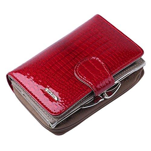 Bluestercool Portafoglio Donna Lungo Vera Pelle Grande Capacità Borsa Elegante Rosso