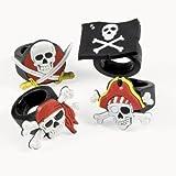 cama24com Piraten-Party Totenkopf-Ringe 12 Stück in 4 Motiven Mitgebsel Gastgeschenke Partytüten Palandi®