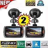"""lonshell 2 x 2.2 """"pantalla Full HD 1080p coche DVR vehículo cámara grabadora de vídeo, 120 ° Ultra gran angular, salpicadero Cam con visión nocturna G-sensor (negro)"""
