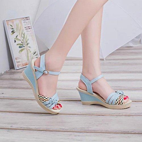 DM&Y 2017 Koreanische Art und Weise Dame starke Ferse Sandalen flach Mund Fischkopf Schuhe Steigung mit wasserdichten Fersen Blue