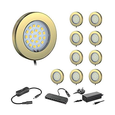ledscom.de Set Of 10 LED Under Cabinet Light Maja, Brass,