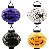 LLLB LED Papier Kürbis Fledermaus Spinne Schädel Mann Hängende Laterne Halloween Decor Geschenke Party Supplies, 8ST