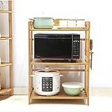 Aufbewahrung Große Multifunktions-Mikrowellen-Speicher-Speicherregal-Regal-Küchen-Organisator-Bambus-Stand-Freies Stehendes 3 Tier (Größe : 70cm)