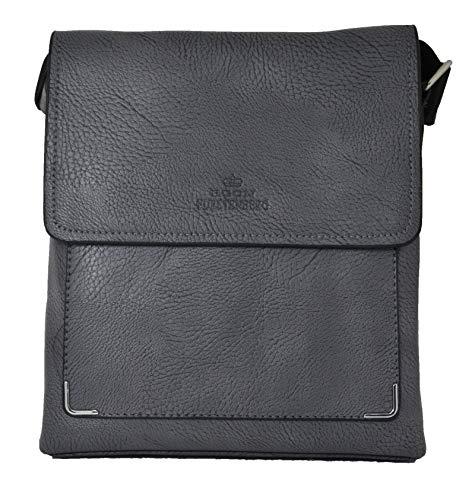 Egon Furstenberg Herren Umhängetasche Multi Tasca, elegant, Grau - grau - Größe: Medium