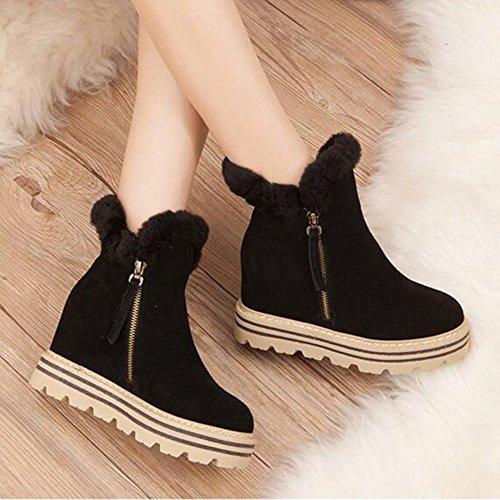 HAIZHEN  Stivaletto Stivali da donna Comfort moda Boots Autunno Inverno Camminare Scarpe Abito Flat Heel Flat Flat Nero / Khaki Per 18-40 anni ( Colore : Khaki-A , dimensioni : EU39/UK6/CN39 ) Black-B