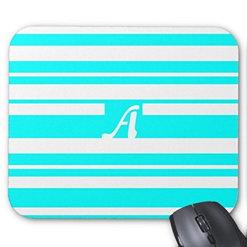TimetoShine Cyan And White Random Stripes Monogram Mouse Pad