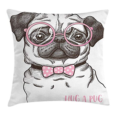 Pug Throw Pillow Cushion Cover, Cute Pet Dog with Pink Bow Tie Oversized Glasses Hand Drawn Domesticated, Decorative Square Accent Pillow Case, 26 X 26 inches, Brown Pale Pink White - Oversized Bow
