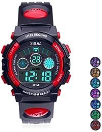 Reloj Digital para Niños,Niños Niñas 50M (5ATM) Impermeable 7 Colores LED Relojes Deportivos Multifuncionales para Exteriores con Alarma (Negro Rojo)