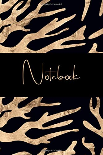 Notebook: College Ruled Journal to write in, Black and Gold, abstract Coral Cover Design -
