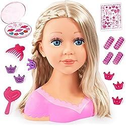 Bayer Design- Tête à Coiffer et Maquiller, Charlene Super Model avec Accessoires, Cheveux blonds, 90088AA