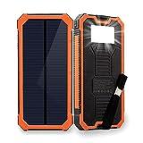 Friengood Chargeur Solaire Portable 15 000 mAh avec Double Ports USB, Chargeur de...