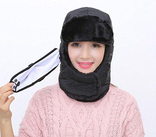 Masques Echarpe Velours épais, Plus Chaud Dame Chapeau D'hiver M Black