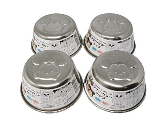 Sanrio JP Tsum Tsum Jelly & Pudding Tin Cup Container Stainless Steel 4-pc set Made in Japan