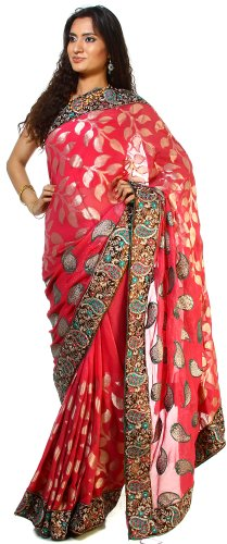 Exotic India Pink-Flambe Shimmer Saree with Patch Paisley Border and Wove -...