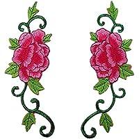 1coppia peonia fiore di rosa con foglie verdi ricamati Appliques Iron On Patches Rose