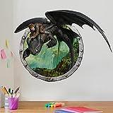 Bilderwelten Wandtattoo Dragons Hicks und Ohnezahns Abenteuer, Sticker Wandtattoos Wandsticker Wandbild, Größe: 120cm x 160cm