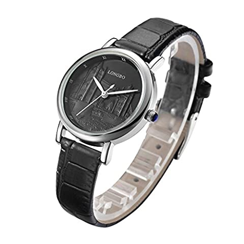 LONGBO Womens Luxury Analog Quartz LONDON Bridge Pattern Black Dial Watch Sportive Black Croco Leather Silver Case Business Watches Casual Couple Wrist Watch