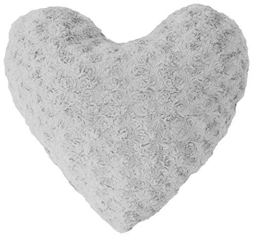 Couleur Montagne Himalaya 3001816-Cojín con forma de corazón, imitación de piel, poliéster/fibra, 40 x 40 cm, color Gris