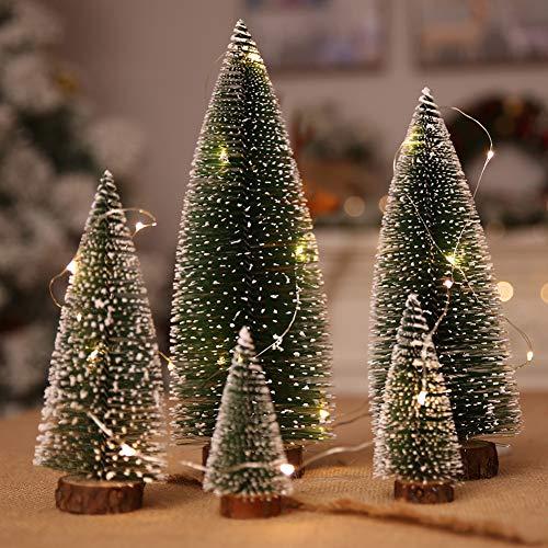 Tisch-Weihnachtsbaum-Dekoration, 5 Stück Mini-Weihnachtsbäume + 100 cm Weihnachtsbaum, mehrfarbig, Lichterkette, Zedernbaum, Basteln für Weihnachtsdekoration